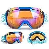 LBHH 1 Piezas Ski Goggles Gafas de esquí Máscara Gafas Esqui Snowboard Nieve Espejo para Hombre Mujer Adultos Juventud Jóvenes Chicos Chicas Anti Niebla Gafas de Esquiar Protección UV