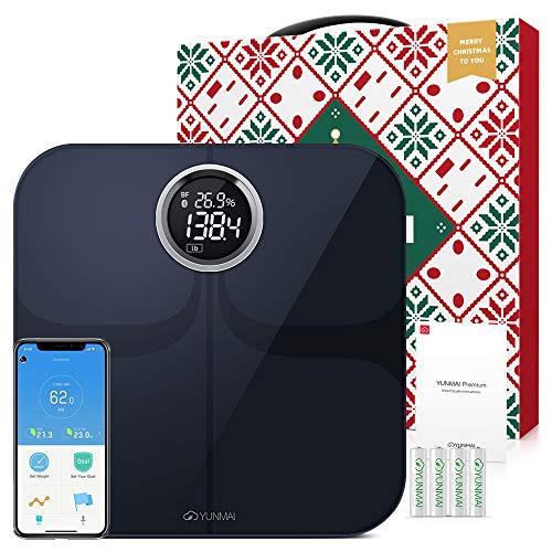 Körperfettwaage - YUNMAI Bluetooth Personenwaage mit Körperfettanalyse iOS und Android APP Smart Digitale Waage für Körperfett Muskelmasse 10 Grundlegende Messungen Körperwaage (Schwarz)