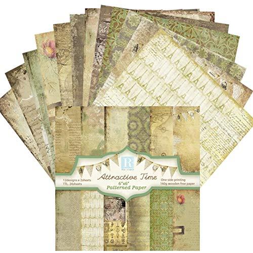 Scrapbook-Papierblock mit Blumenmuster, für Scrapbooking, exquisites Kartonpapier, Vintage, geprägtes Papier, Basteln, 15,2 cm, für DIY-Alben, Sammelalben, Grußkarten, Hintergrundpapier (24 Stück)