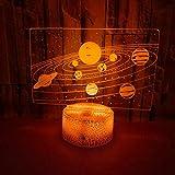 Luz Nocturna Para Niños Luces Ilusión 3D Luces De Decoración Sistema Solar 7 Colores Cambio Touch Control Con Cable Usb Y Temporizador Remoto Casa Oficina Decoració
