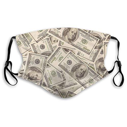 WLWINTER USA-Dollar-Gelddruck, Unisex-Gesichtsschutz Wiederverwendbar für Radreisen mit 2 austauschbaren Filtern