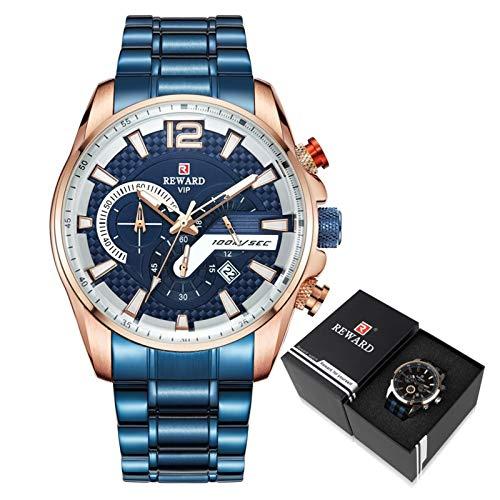 CHICAI Reloj deportivo con cronógrafo y correa de acero inoxidable masculino (color azul en caja)