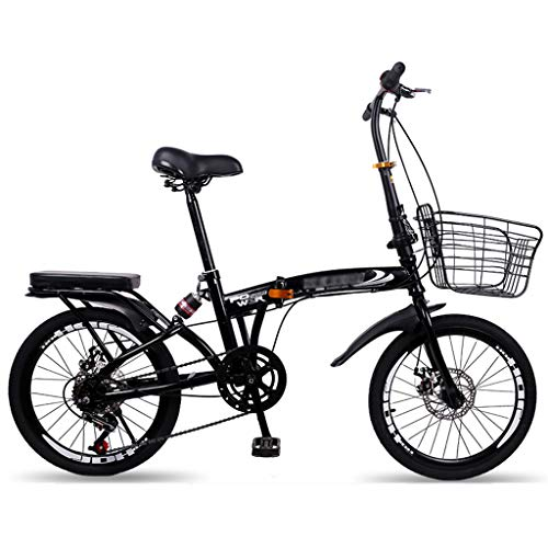 Folding Bicycle 20 Inch Men and Women Ultra Light 6 Variable Speed Shock Absorber Bicycle Double Disc Brake Student City Casual Bike