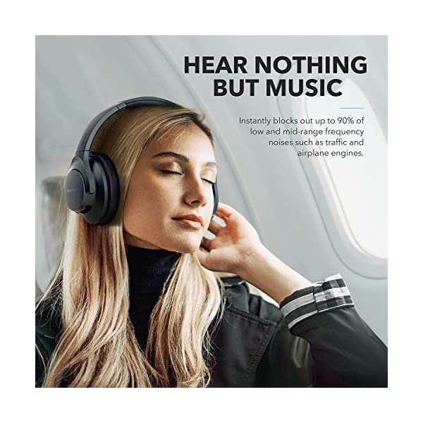 Anker Soundcore Life Q20 Hybrid Active Noise Cancelling Headphones, Wireless Over Ear Bluetooth Headphones, 40H Playtime, Hi-Res Audio, Deep Bass, Memory Foam Ear Cups, for Travel, Home Office 6