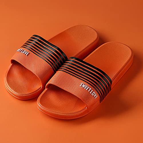 JFHZC Zapatos de Piscina,Sandalias y Pantuflas Unisex ultraligeras de Fondo Plano, Pantuflas Antideslizantes para la Piscina de baño con Fondo Blando-Orange_36-37