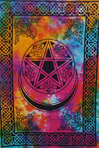 Tapestry Bazar Tarot Pentacle and Star Psychedelic Gypsy Hippie Boho Bohemian Cotton Wall Hanging Room Lounge Window Decoration Poster (Multi, 40 X 30 Inches)