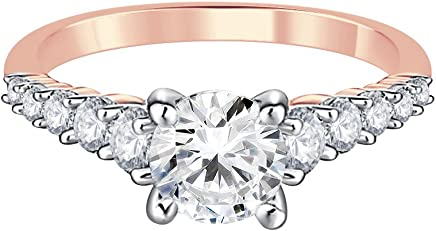 Silvernshine Jewels Solitaire W/Accents Engagement Ring 1.20Ct Lab Created Diamond 9ct Rose Gold Finish