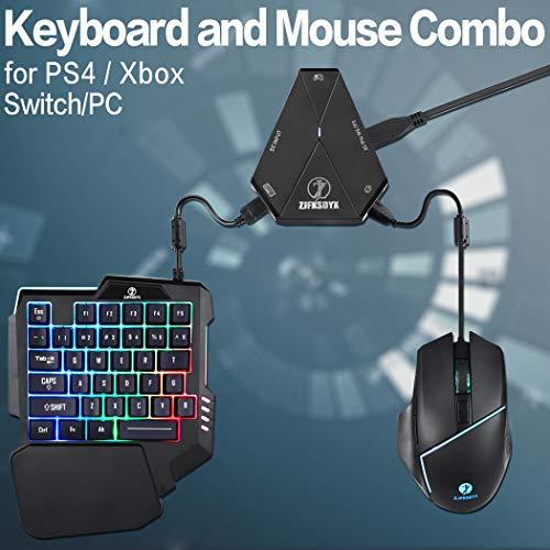 ZJFKSDYX C91PRO beleuchtete Gaming-Tastatur und -Maus mit Videospiel für PS4, Xbox One, Switch, PS3, PC