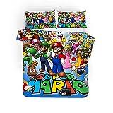 AZJMPKS Super Mario - Juego de cama (funda nórdica de 135 x 200 cm, funda de almohada de 75 x 50 cm, algodón reforzado), diseño de Super Mario