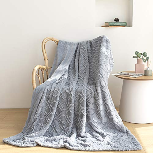 """Luxury Faux Fur Throw Blanket and Throws,Super Soft Blanket Fuzzy Plush Bed Throws Bedding Blanket.Best Cozy Blanket for Bed Couch Sofa, Lightweight Bed Blanket Comfy Blankets. 51""""x63""""(PV Blue)"""