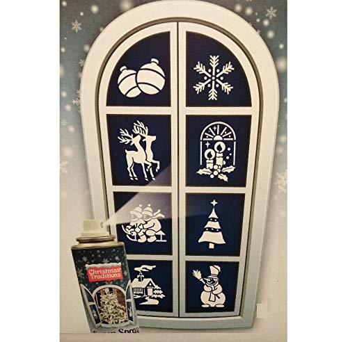 Unbekannt Fensterschablonen Schablonen für Schneespray Weihnachten 8 Stück Schneemann, Tannenbaum