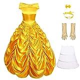 OBEEII Mujer Vestido de Princesa Belle Beauty and Beast Disfraz de Carnaval Halloween Cosplay Fiesta Fancy Dress Up Costume Amarillo02 2XL