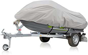 Waterproof Heavy Duty Jetski Cover - 139'' - 145'' Inch Mildew Resistant Watercraft Storage Cover with Adjustable Strap & Elastic Cord for Tight Custom Fit - Marine Grade Protection - Pyle PCVJS14