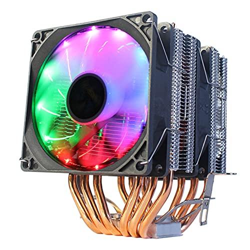 WENFAN Ventilador de CPU de 4 pines y 6 Heatpipe RGB, multicolor, ligero disipador de calor para ordenador de sobremesa, ventilador silencioso para AMD/Intel LGA775/1150/X79 2011