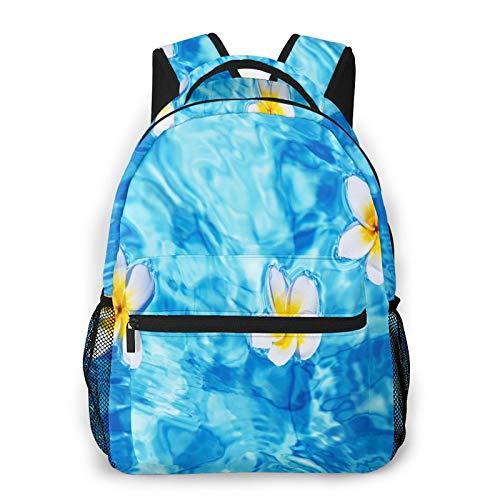 CVSANALA Multifuncional Casual Mochila,Flor de Frangipani tropical flotando en la piscina de agua Verano Ecológico,Paquete de Hombro Doble Bolsa de Deporte de Viaje Computadoras Portátiles