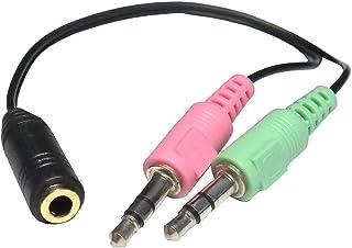 エスエスエーサービス スマホ用イヤホン&マイクをPC用イヤホン(緑)とマイク(ピンク)に変換接続できるケーブル [ 4極(メス)→3極3.5mm(オス) x2 ] ST35-SM35MS