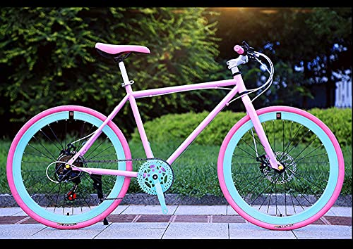 Youth/Adult Women's Bike 7 Speed 26 Inches 40 Knives Broken Wind Spoke Wheels Multifunctional Mountain Bike Variable Speed Dead Fly Bicycle Men And Women Live Fly Bicycle Commuter Road Double Disc Bra