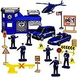 Motormax 20 TLG. Set: Metall Polizei Station mit Fahrzeugen und Zubehör 1/43