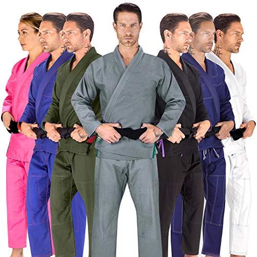 Elite Sports BJJ GI for Men IBJJF Kimono BJJ Jiu Jitsu Lightweight GIS W/Preshrunk Fabric & Free Belt (White, A2)