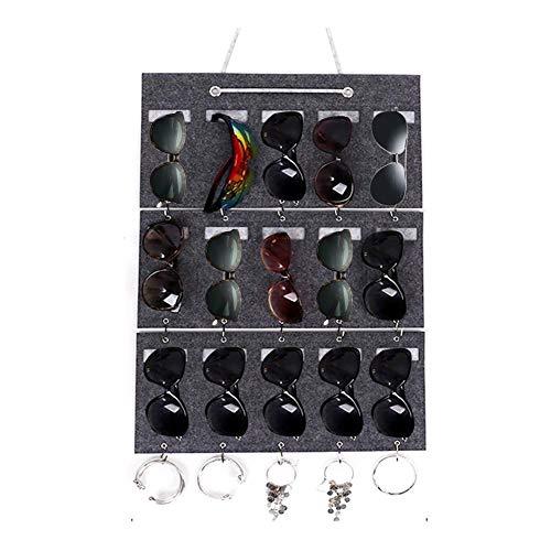 Sue-Supply Caja de Almacenamiento de 15 Ranuras para Gafas de Sol, Bolsa de Fieltro para Colgar en la Pared, Estante de Almacenamiento para Gafas de Sol se Puede Lavar y reutilizar