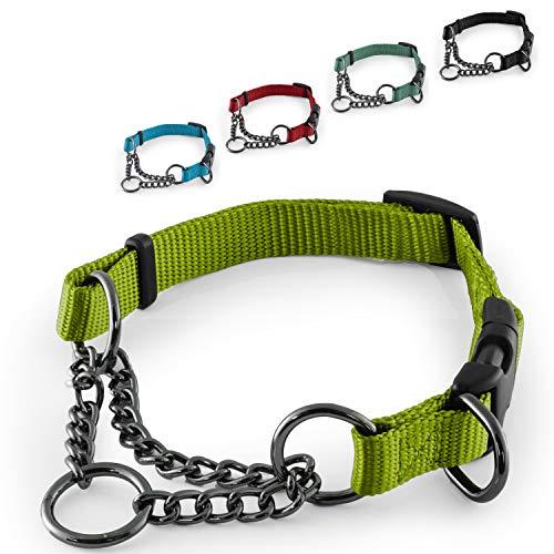 CarlCurt - Training Line: Retriever-Hundehalsband Aus Strapazierfähigem Nylon, Verstellbar, L 43-60cm, Hellgrün