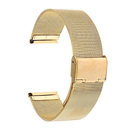 TRUMiRR 18 mm Cinturino in Maglia di Acciaio Inossidabile per Huawei Watch 1st/Fit Honor S1, ASUS ZenWatch 2 WI502Q Femminile, Withings Steel HR 36mm, Fossil Q Tailor, 36mm Daniel Wellington.