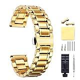 BINLUN CorreasDe Reloj Acero Inoxidable con Extremo Recto Y Curvado (Oro, Plata, Negro, Oro Rosa, Oro Y Plata De Dos Tonos)...