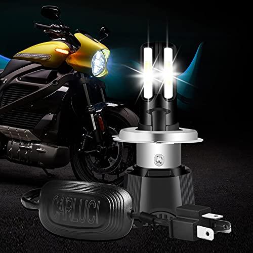 CARLUCI Bombilla H4 LED para Moto, 46W 4600LM 6000K H4 Bombilla para Faros Delanteros de Motocicleta Luz Alta o Luz Baja, Kit de Conversión de 9-24V Coche Repuesto para Bombilla Halógenas de Xenón