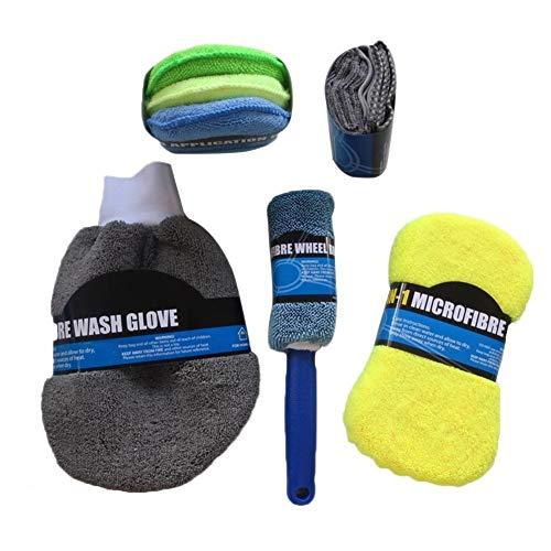 LMH 9pcs Microfiber Lavado de Coches Kit de Limpieza Incluye Toallas de Microfibra Aplicador Pads Wash Sponge Wash Glove Rueda Cepillo