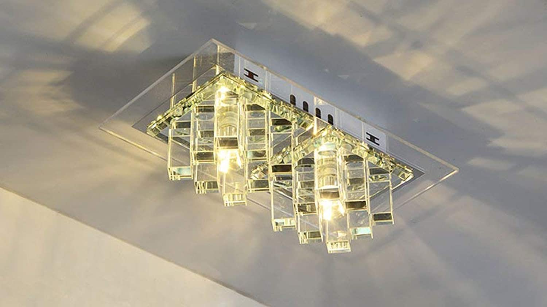 Zhang Yan ZYY  Deckenleuchte LED Warm Licht, Modern Einfach Rechteckiger Design Leuchte Metall Kristall Acryl Lampe L27cm B15cm 10W (Transparent, Oberflchenmontage)