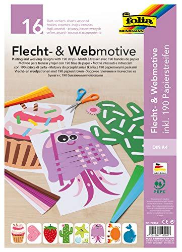 folia 70252 - Flecht- & Webmotive Set, DIN A4, 16 Blatt mit 8 Motiven, inklusive 190 Papierstreifen, kreative Beschäftigung für Kinder