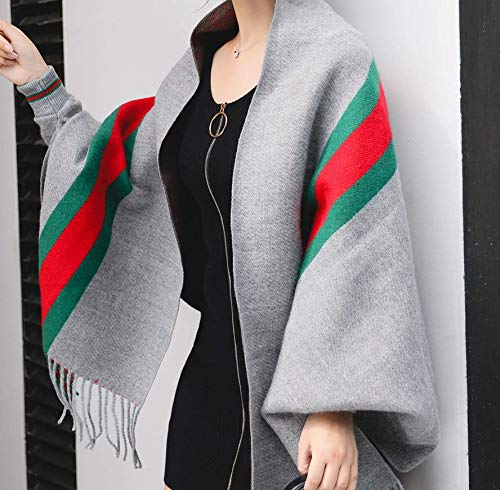 Sportinggoods mantel met mouwen kasjmier sjaal dubbelzijdig gebruik   dikke herfst en winter dames dubbelzijdige eenkleurige mantel warme grijze strepen