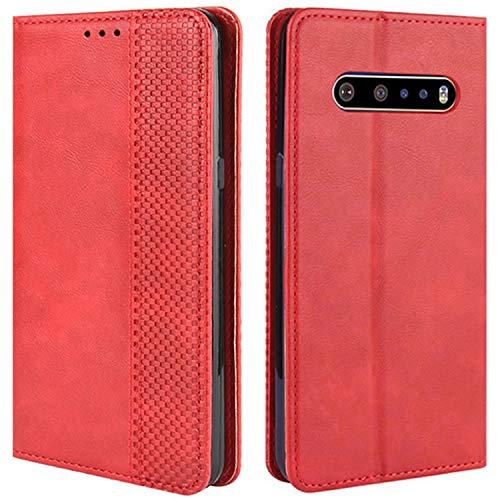HualuBro Handyhülle für LG V60 ThinQ Hülle, Retro Leder Stoßfest Klapphülle Schutzhülle Handytasche LederHülle Flip Hülle Cover für LG V60 ThinQ 5G Tasche, Rot