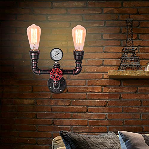 OYI Antique Wall Sconces, 2 Lights Rustic Wall Light Fixture Retro Water Pipe Style Copper Wall Mounted Lamp E26 Socket