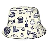 Henry Anthony Fisher Hat Women and Men, Vintage Objects Vector Graphic Pattern Bucket Hat One Szie Boonie Cap