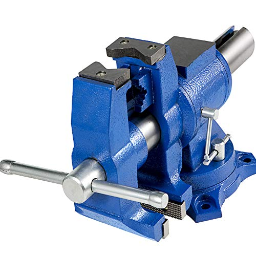 """BestEquip 6"""" Heavy Duty Bench Vise , Double Swivel Rotating Vise Head/Body Rotates 360° ,Pipe Vise Bench Vices 30Kn Clamping Force,for Clamping Fixing Equipment Home or Industrial Use"""