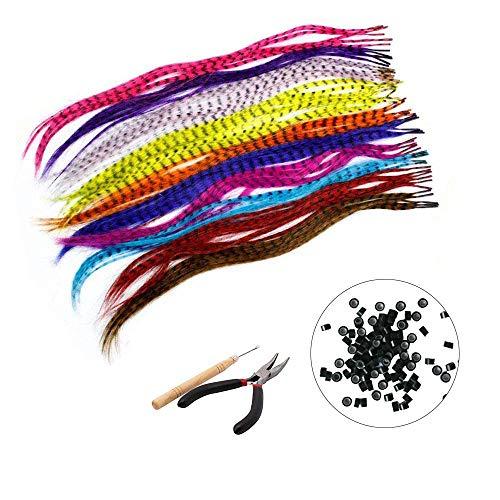 Mookis 35 Stück synthetische Feder Haarverlängerung Federhaarverlängerungs-Set(40cm) +100 Perlen, 1 Klemmen und 1 Haken (Haare gemischte Farben)