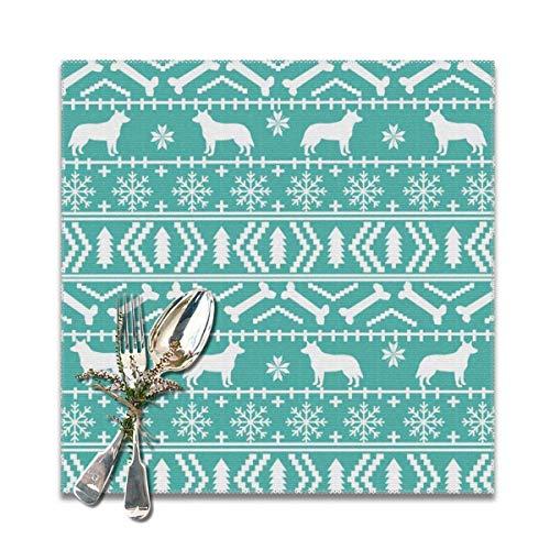 surce Australische vee hond eerlijke eiland Kerstmis trui patroon blauwe Placemats voor eettafel wasbare Placemat Set van 6 12x12 inch
