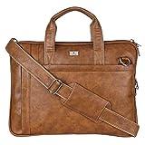 K London Sleek & Compact Tan Vegan Leather Handmade Men Women Unisex Laptop Bag MacBook Cross Over Shoulder Messenger Bag Office Bag(1808-tan)
