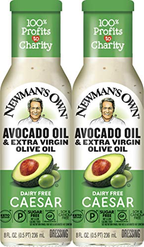 Newman's Own Avocado Oil & Extra Virgin Olive Oil Dairy Free Caesar Dressing, 8 oz (2 Pack)