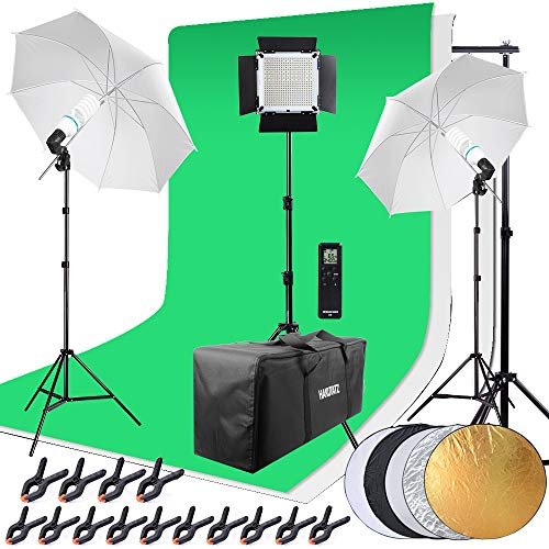 HAKUTATZ® Profi Fotostudio LED Dauerlicht Set Hintergrundsystem mit Schutztasche Studiosets (HK-9)