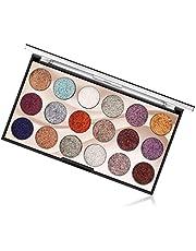 Paleta cieni do powiek, 18 kolorów, z brokatem, paleta cieni do powiek, wielofunkcyjna, odblaskowa paleta kosmetyków, trwała, wodoszczelna, do oczu, brwi i lakieru do paznokci (01)