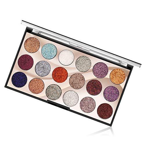 Eyeshadow Palette Palette di ombretti glitter 18 colori Glitter multi riflessi Trucco Pallet cosmetico Lunga durata Impermeabile per occhi Sopracciglia e smalto (01)