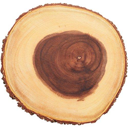 Artesa Árbol tronco Tabla de quesos/bandeja con borde de corteza de madera natural, 25cm, 10 pulgadas, diseño redondo, Madera, Marrón, 1x 1x 1cm
