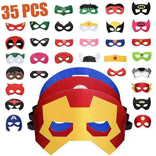 Maschere di Supereroi 35 Pezzi, Maschere Feltro Superhero Mask con Corda Elastica, Supereroi Maschere Cosplay Maschere per Bambini Adulti Mascherata per Feste Mascherine