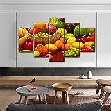 xvhsx Stampe E Quadri su Tela Stampe Decorative su Tela A Tema con 5 Pannelli da Cucina Una varietà di Quadri Realistici di Frutta con Quadri Modulari per La Cucina