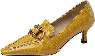 TAOFFEN Women Fashion Square Toe Court Shoes Low Block Heels