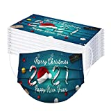 Generic 10/50 Stück Weihnachten Erwachsene Einmal-Mundschutz Mit 2021 Happy New Year Motive Mund Nasenschutz Bandana Halstuch Mundschutz Staubs-chutz Atmungsaktive Drucken Mundbedeckung
