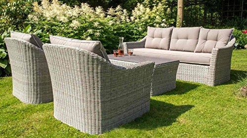 Homcom, Lounge Möbel, giardino lounge mobili, lounge set, mobili da giardino, rattan lounge, poli-Rattan, crema-grigio, Stone spray-piano