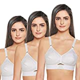 Cotton Round Stitch Bra (3 Pieces), White, 36 Size, C Cup